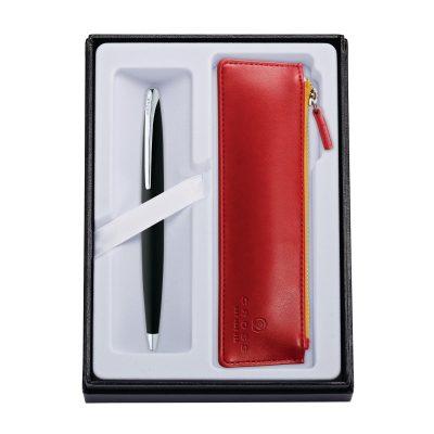 ATX Basalt Black Ballpoint Pen w/ Crimson ZIP Pouch