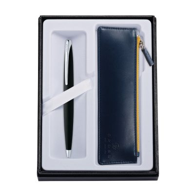 ATX Basalt Black Ballpoint Pen w/ Midnight Blue ZIP Pouch