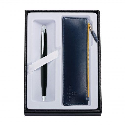 ATX Basalt Black Ballpoint Pen w/ Midnight Blue ZIP Pouch