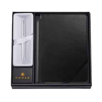 Calais Satin Chrome Ballpoint Pen w/ Medium Classic Black Journal