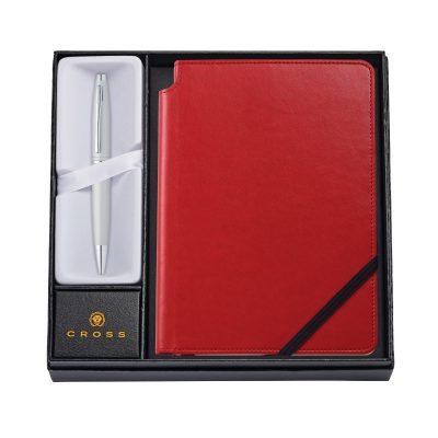 Calais Satin Chrome Ballpoint Pen w/ Medium Crimson Journal
