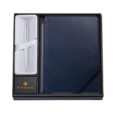 Calais Satin Chrome Ballpoint Pen w/ Medium Midnight Blue Journal