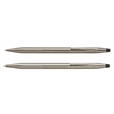 Classic Century Titanium Gray PVD Ballpoint Pen/0.7mm Pencil Set with Micro-knurl Detail